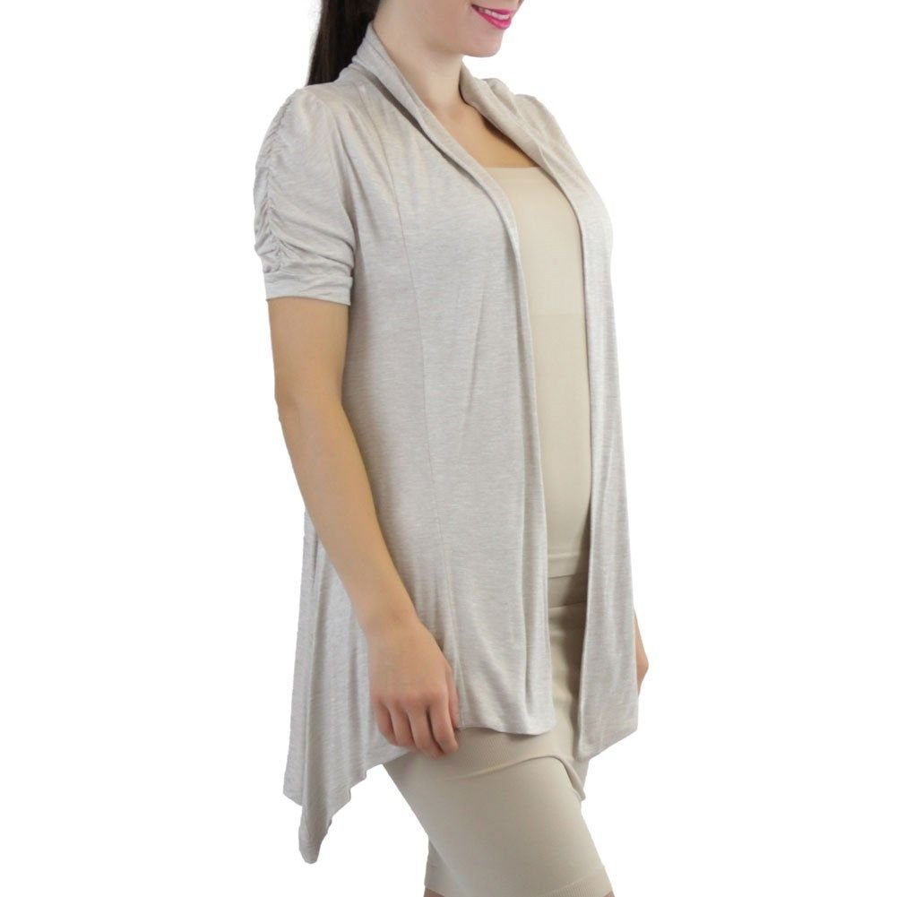 eb60e36c3df64 FashionCatch Women s Ruched Cap Sleeve Cardigan Sweater