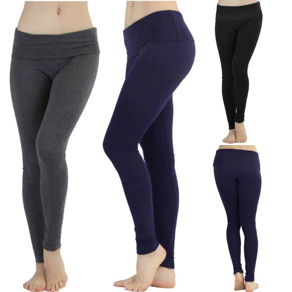 55fb696209 Details about FashionCatch Women's Skinny Fit Foldover Waist Yoga Pants