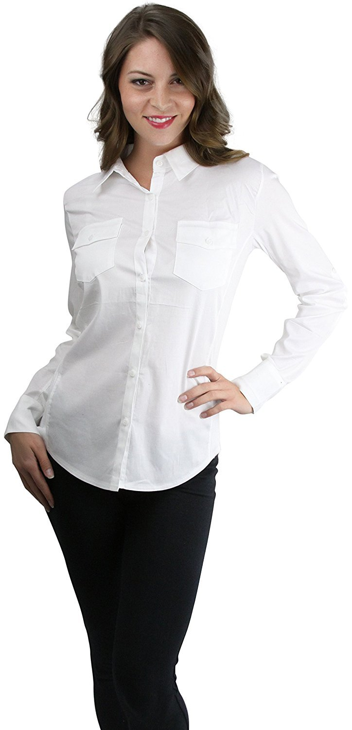 ToBeInStyle Women/'s Long Sleeve Button Pocket Top