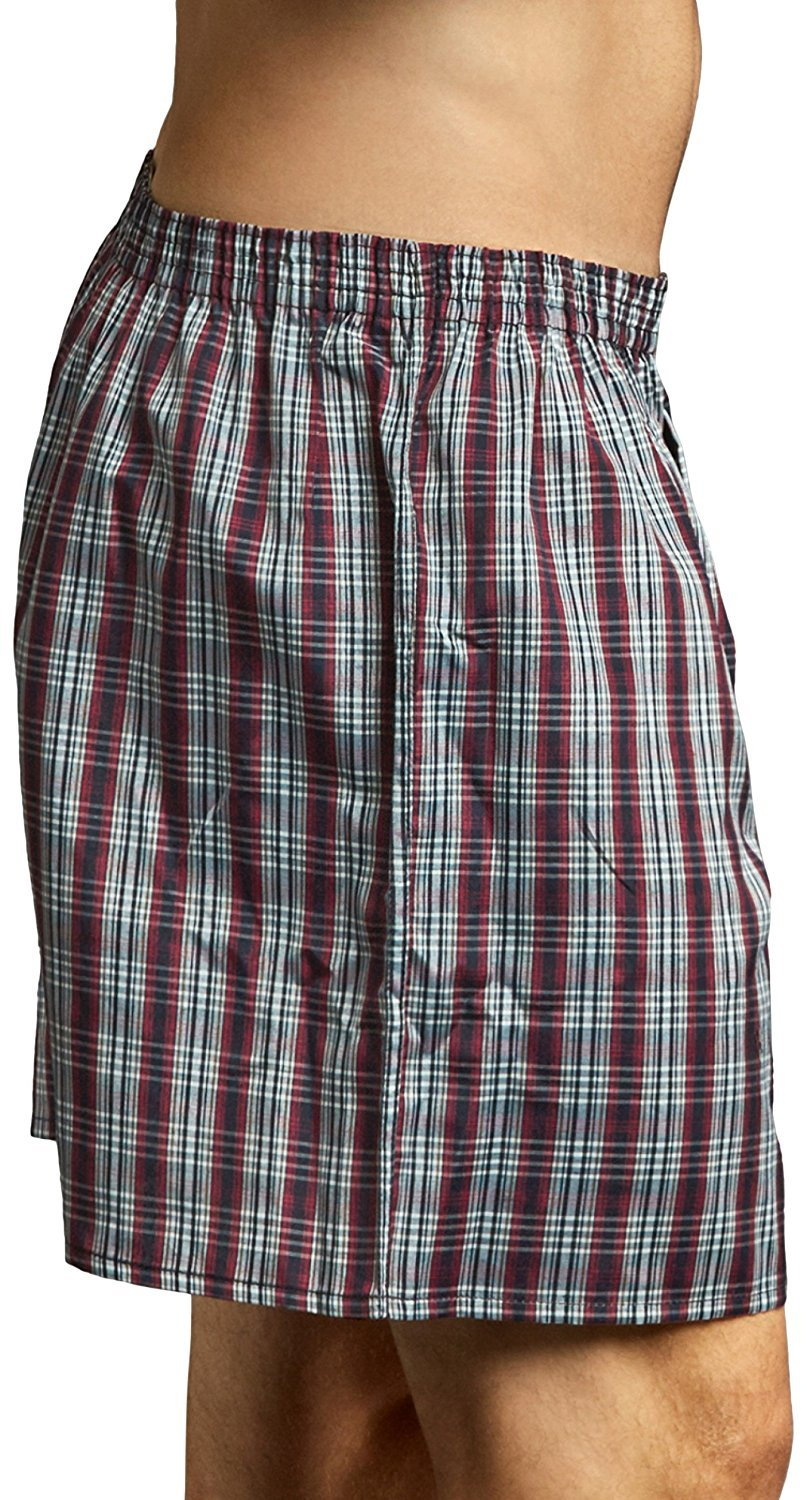 ToBeInStyle Mens Pack of 3 or 6 Button Fly Loose Fit Tartan Plaid Boxer Shorts