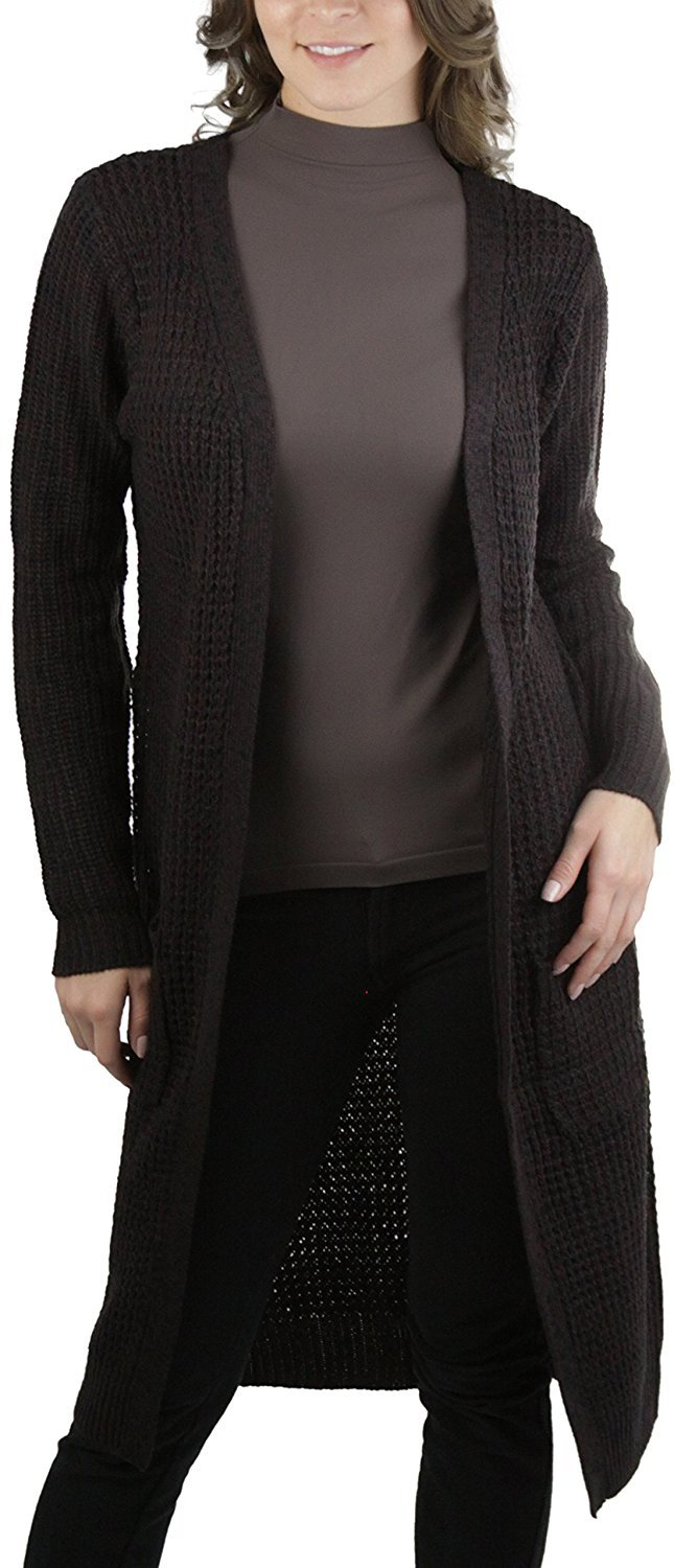 bfe3dfbac51 Details about ToBeInStyle Women's Long Knit Waffle Duster Sweater