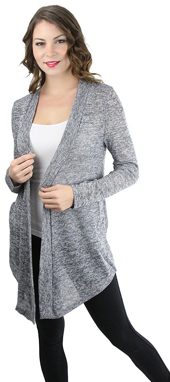 FashionCatch Women/'s Long Sleeve Open Front Knit Cardigan