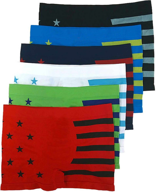 FashionCatch Boy/'s Pack of 6 Seamless Boxer Briefs Stripes