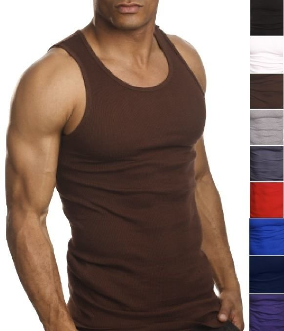 ToBeInStyle Mens Value Pack of Form Fitting Scoop Neck Sleeveless White A-Shirts