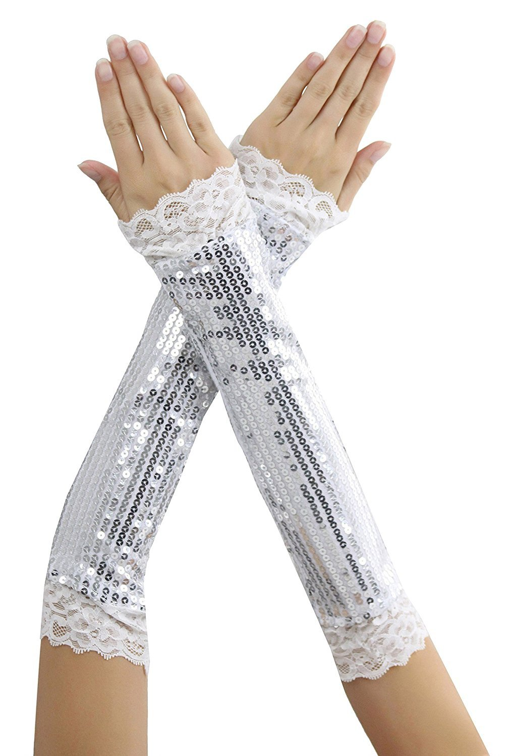 New Music Legs 406 Elbow Length Sequin With Lace Trim Arm Warmers