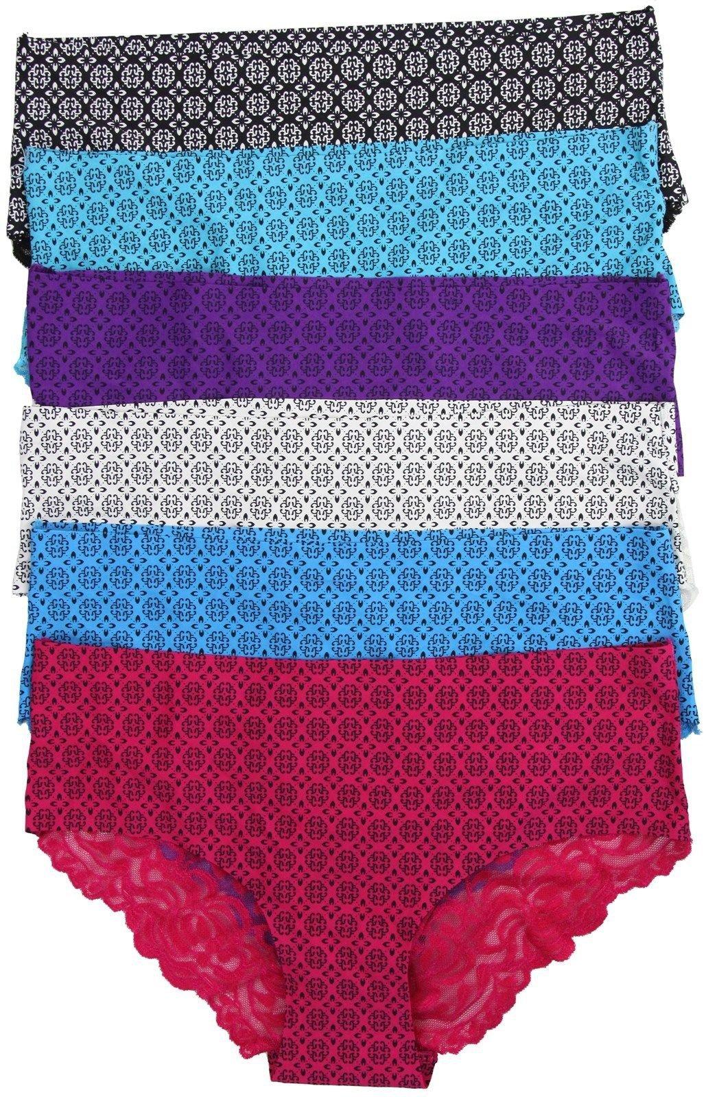 b821d658db3f1 FashionCatch Women s Laser Cut No Show Lace Seamless Panties (6-Pack ...
