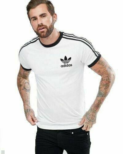 thumbnail 14 - Adidas Originals California Men's T-Shirt Trefoil Retro 3-Stripes Short Sleeve