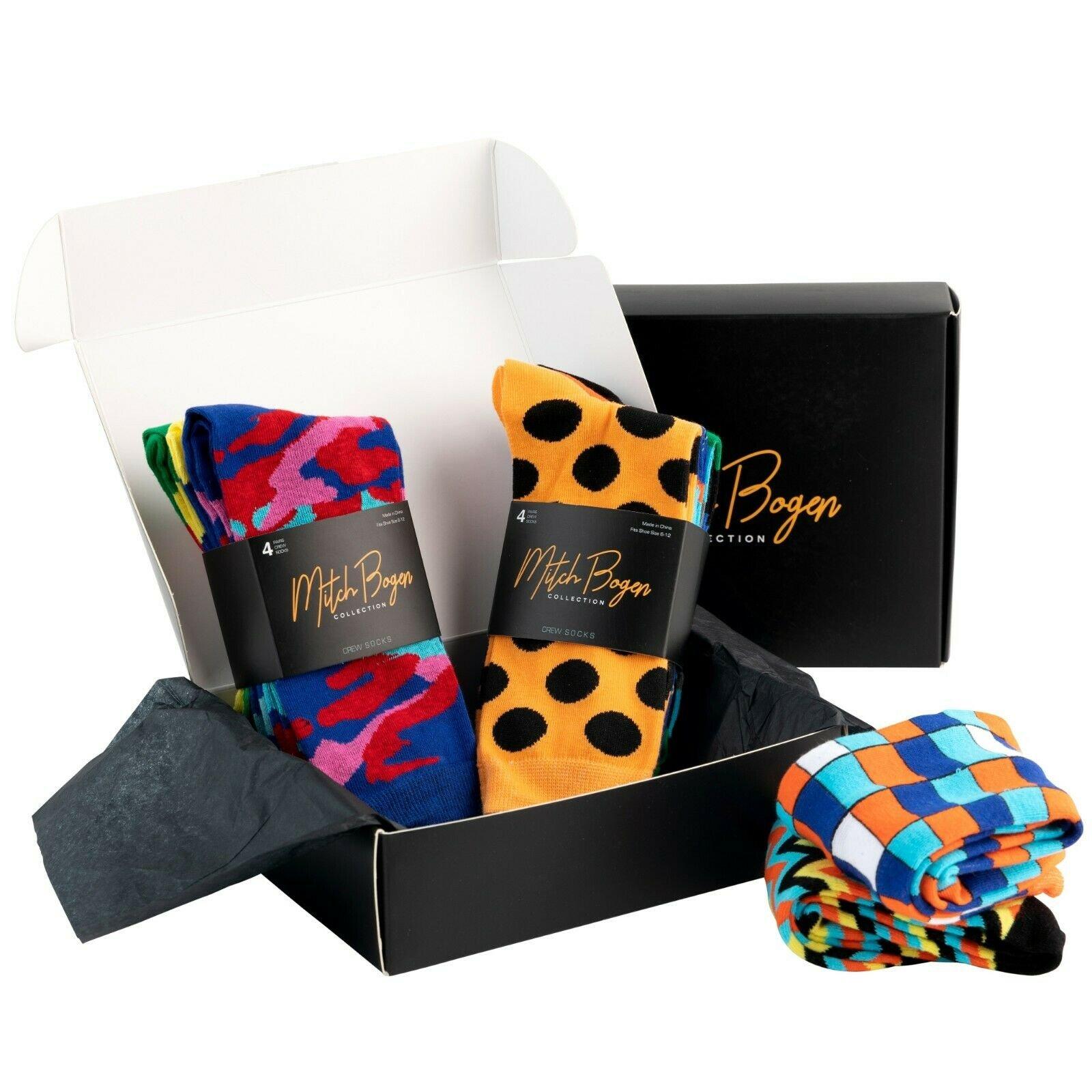 Mitch-Bogen-Mens-Cotton-Dress-Socks-Colorful-Fashion-Crew-Socks-8-Pack-Gift-Box thumbnail 48
