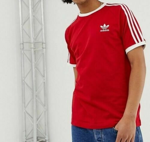 thumbnail 19 - Adidas Originals California Men's T-Shirt Trefoil Retro 3-Stripes Short Sleeve
