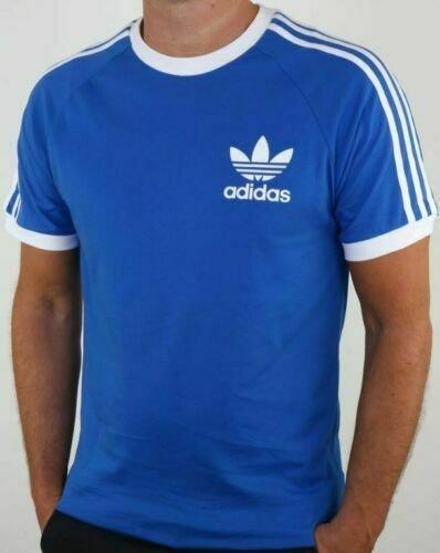 thumbnail 10 - Adidas Originals California Men's T-Shirt Trefoil Retro 3-Stripes Short Sleeve