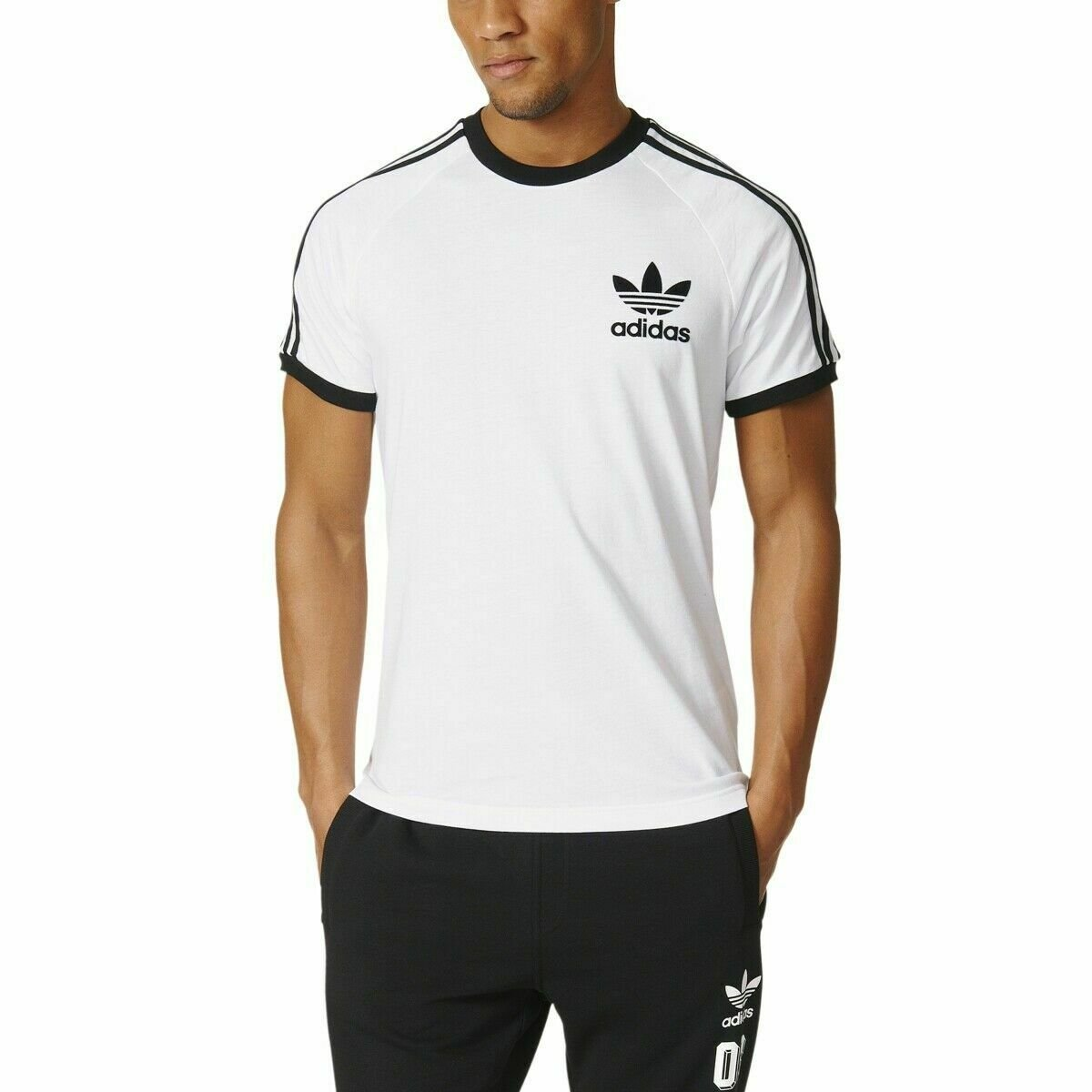thumbnail 15 - Adidas Originals California Men's T-Shirt Trefoil Retro 3-Stripes Short Sleeve