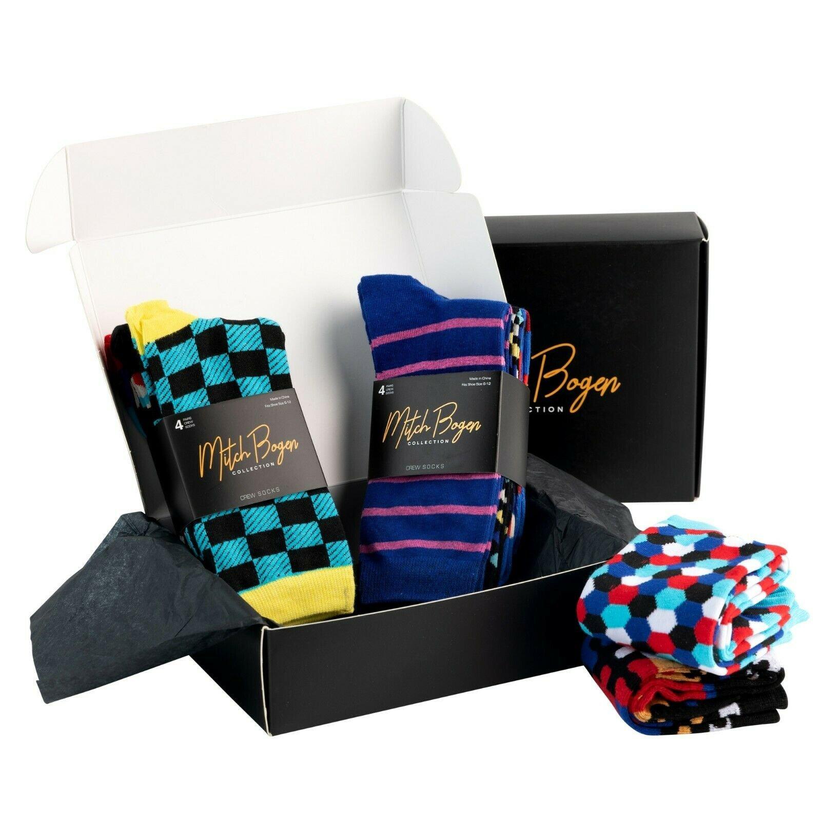 Mitch-Bogen-Mens-Cotton-Dress-Socks-Colorful-Fashion-Crew-Socks-8-Pack-Gift-Box thumbnail 58