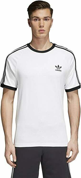 thumbnail 12 - Adidas Originals California Men's T-Shirt Trefoil Retro 3-Stripes Short Sleeve