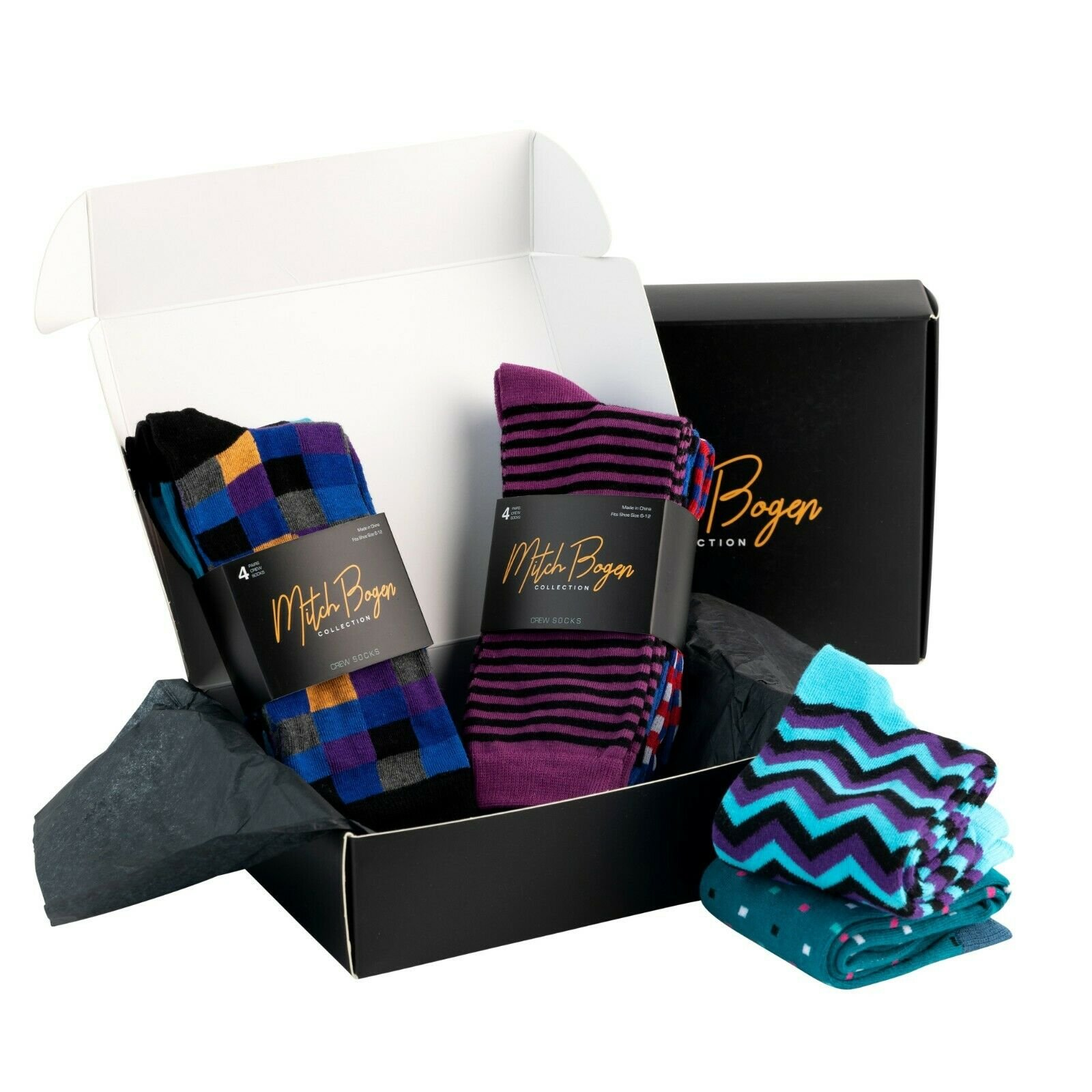 Mitch-Bogen-Mens-Cotton-Dress-Socks-Colorful-Fashion-Crew-Socks-8-Pack-Gift-Box thumbnail 28