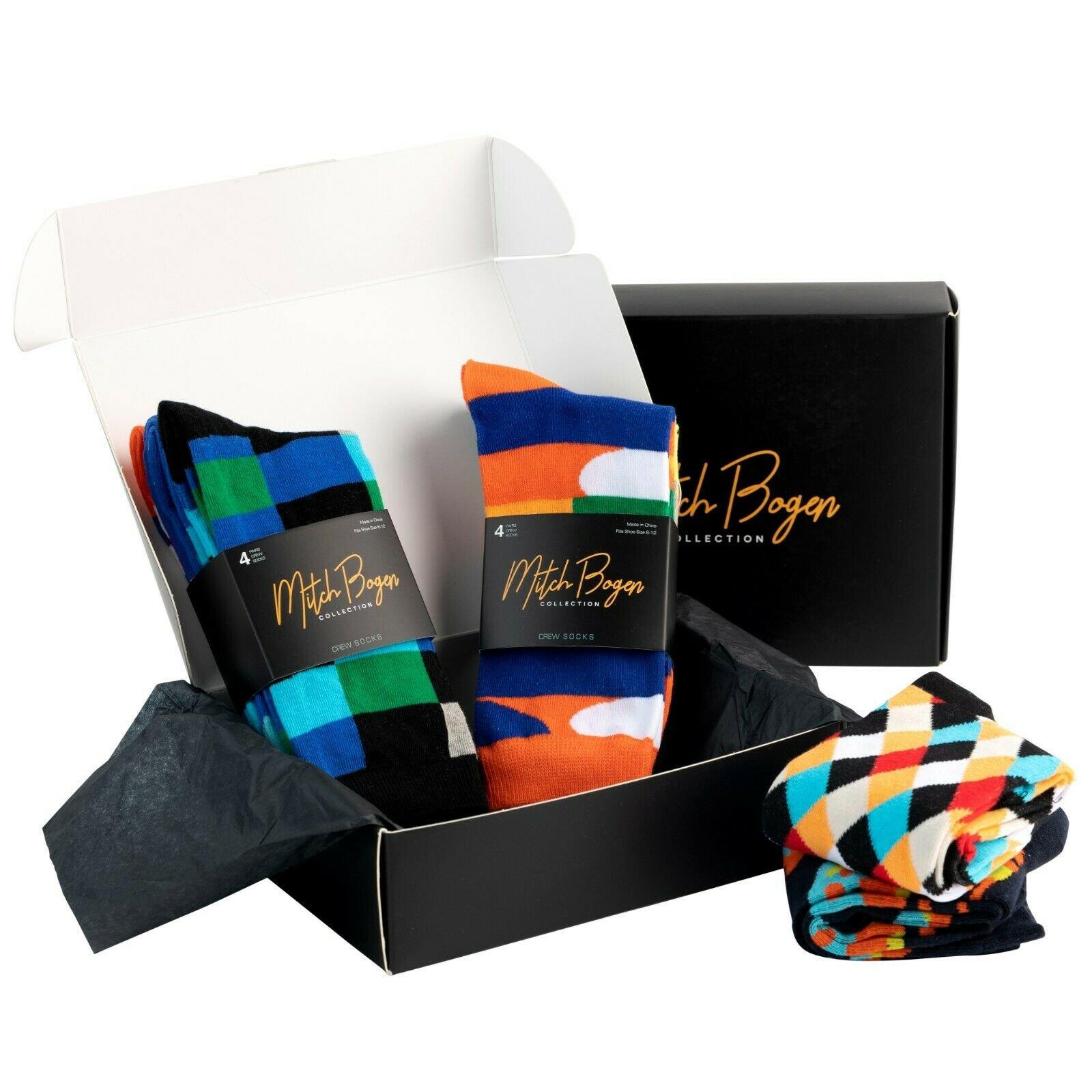 Mitch-Bogen-Mens-Cotton-Dress-Socks-Colorful-Fashion-Crew-Socks-8-Pack-Gift-Box thumbnail 18