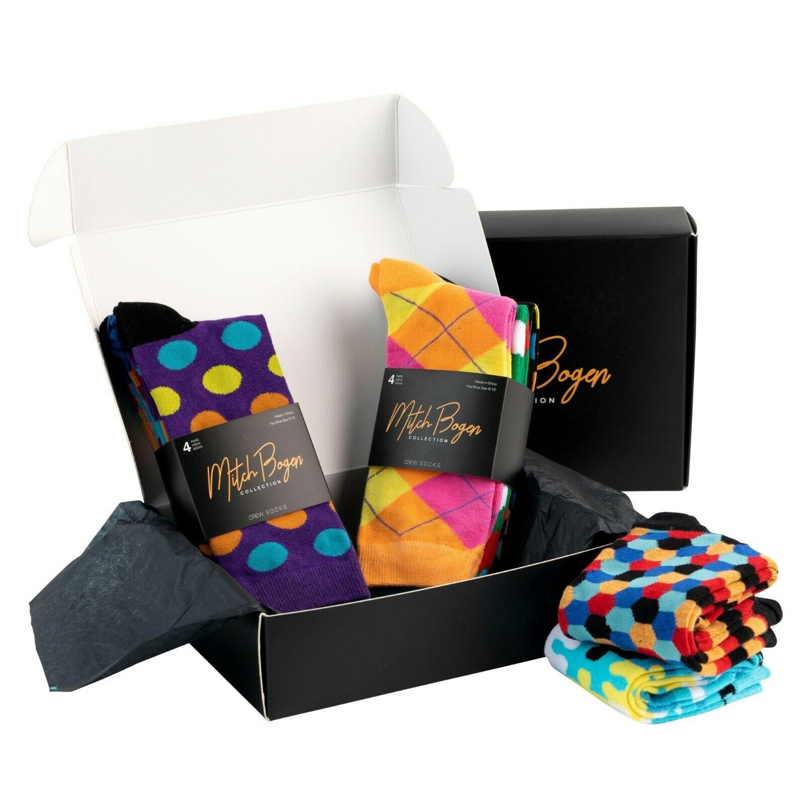 Mitch-Bogen-Mens-Cotton-Dress-Socks-Colorful-Fashion-Crew-Socks-8-Pack-Gift-Box thumbnail 8