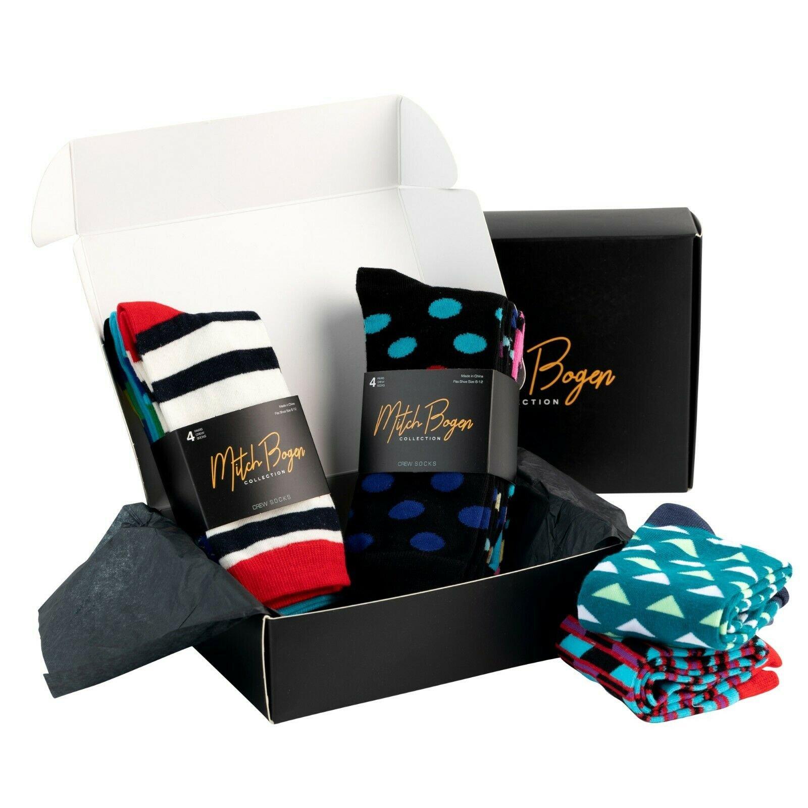 Mitch-Bogen-Mens-Cotton-Dress-Socks-Colorful-Fashion-Crew-Socks-8-Pack-Gift-Box thumbnail 38