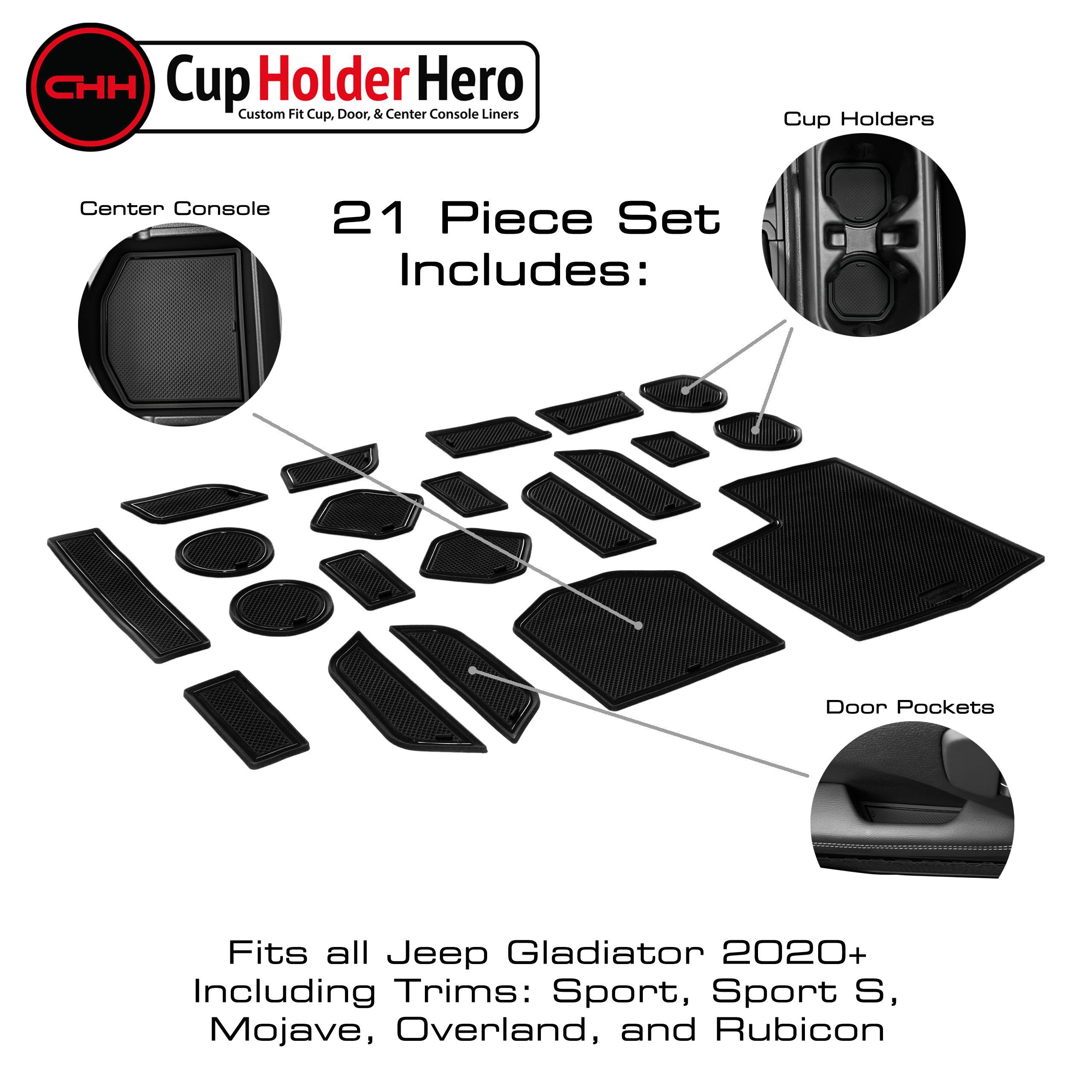 cupholderhero jeep gladiator 2020-2021 liner accessories