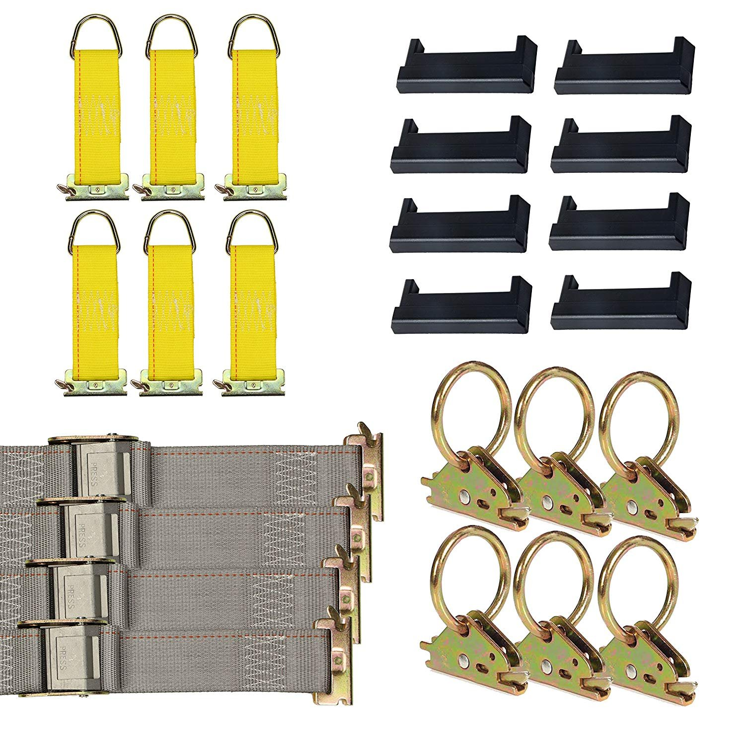 8 O Rings E-Track Tie-Down KIT 4 Galvanized 5 Horizontal E Track Rails Cargo Securement 8 End Caps 8 Rope Tie-Offs Trailer Accessories