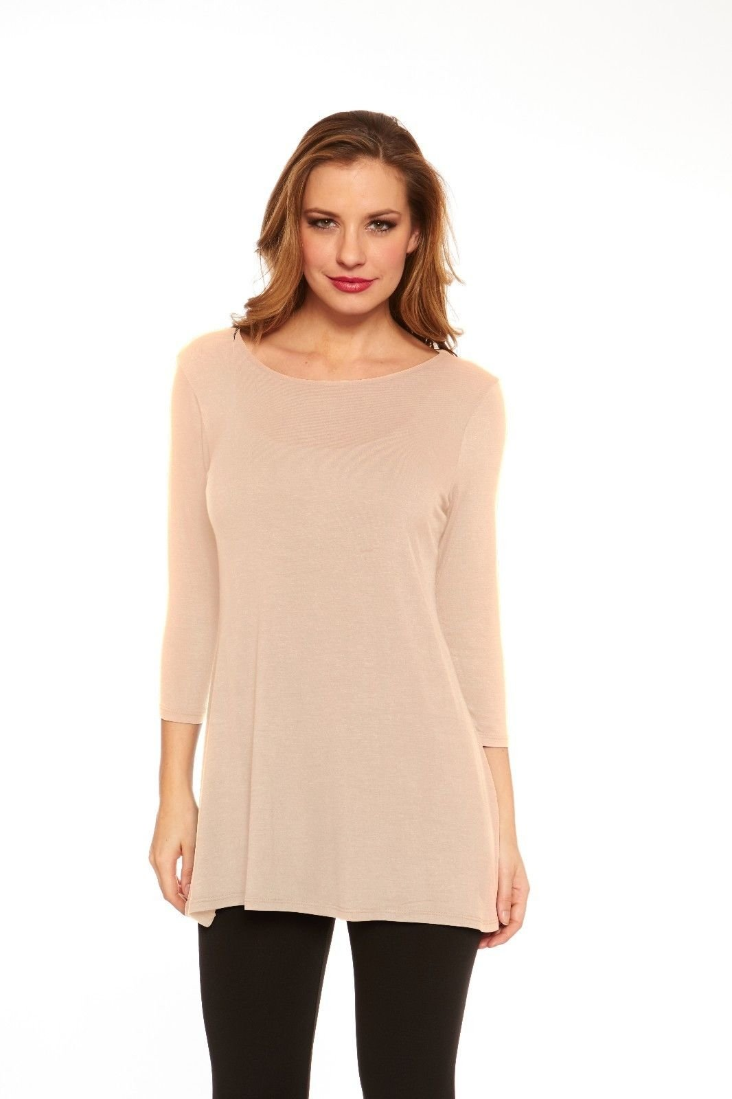 Womens Tunic Top Elbow Sleeves Solid Wide Neck Flowy