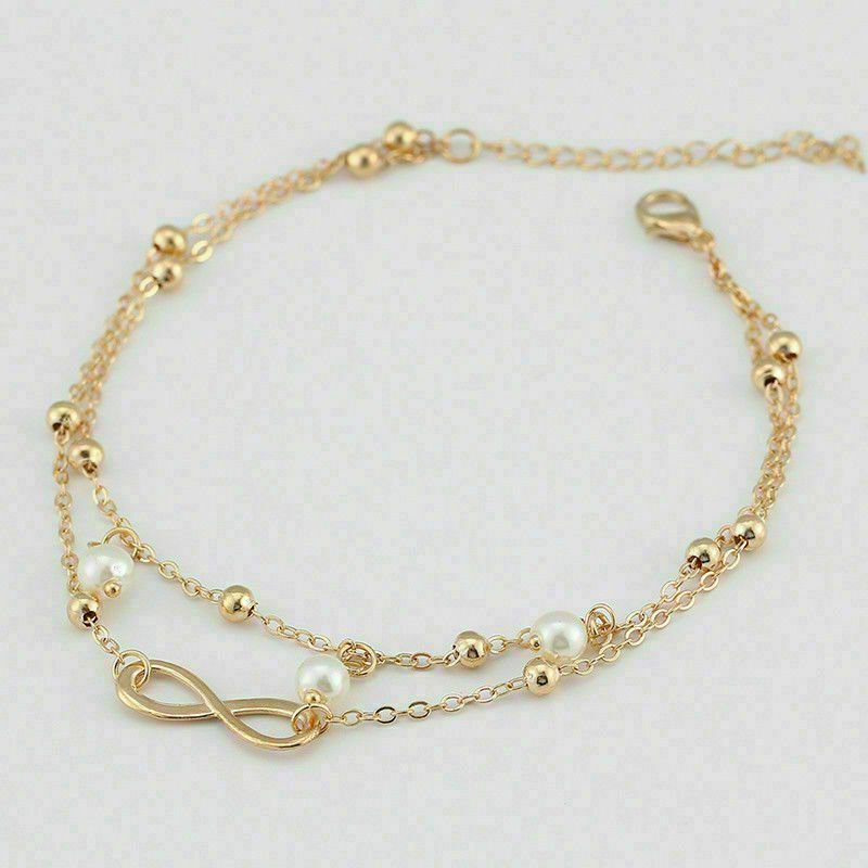 thumbnail 15 - Women Double Ankle Bracelet 925 Silver Anklet Foot Jewelry Girl's Beach Chain US