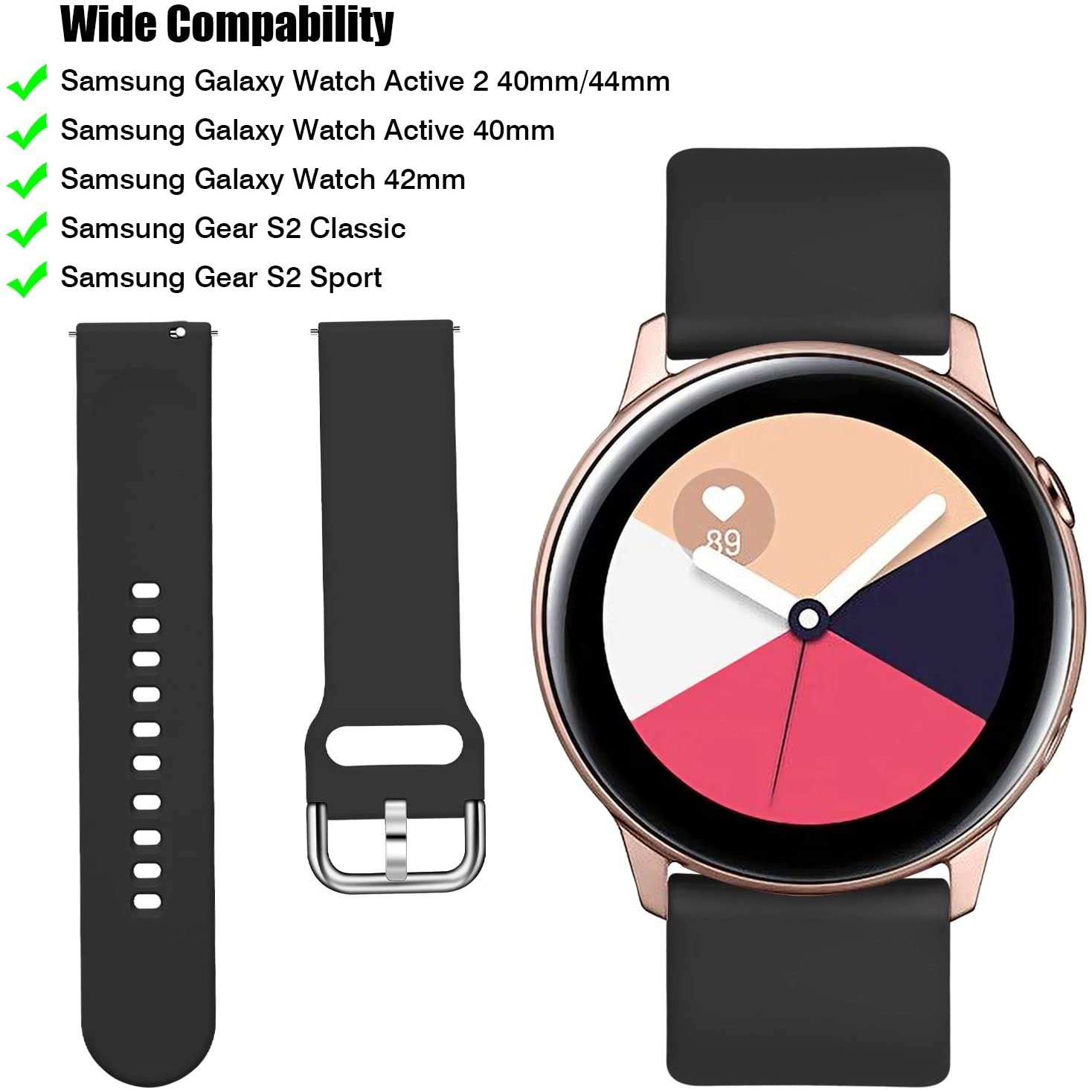 thumbnail 12 - Silicone Sport Strap For Samsung Galaxy Watch Active2 40mm 44mm Wrist Band