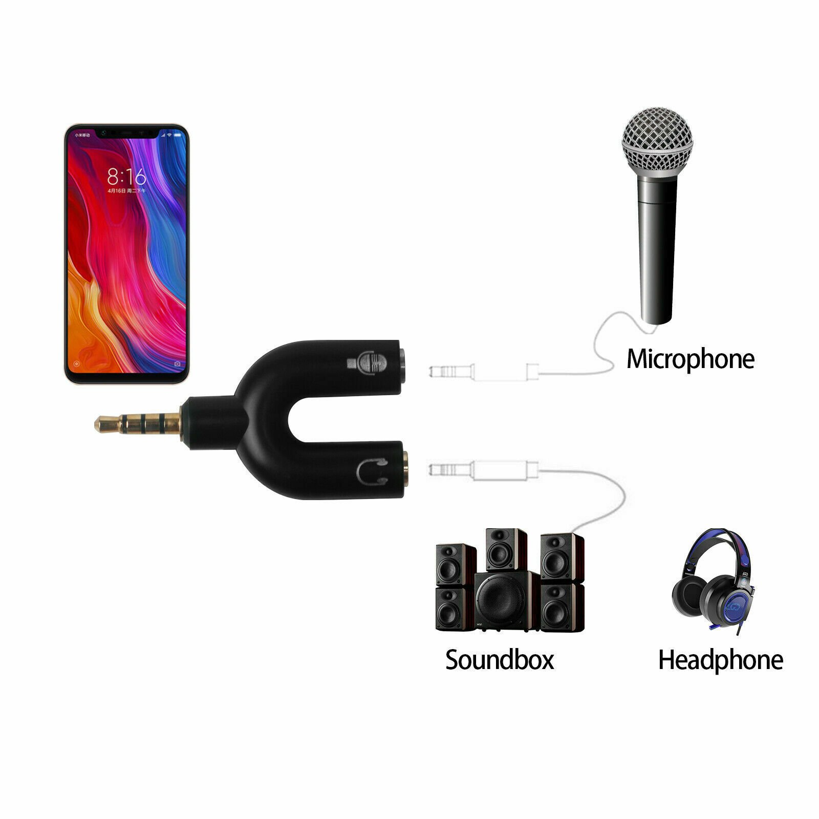 thumbnail 8 - 2-Pack-3-5mm-Stereo-Audio-Male-to-2-Female-Headphone-Splitter-Cable-Adapter
