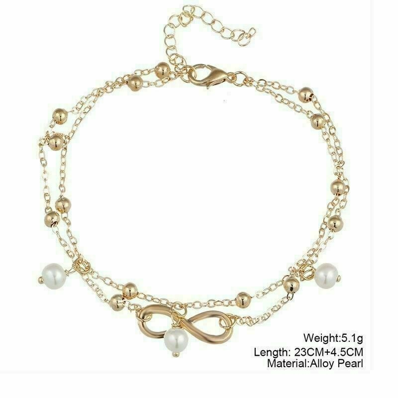 thumbnail 13 - Women Double Ankle Bracelet 925 Silver Anklet Foot Jewelry Girl's Beach Chain US