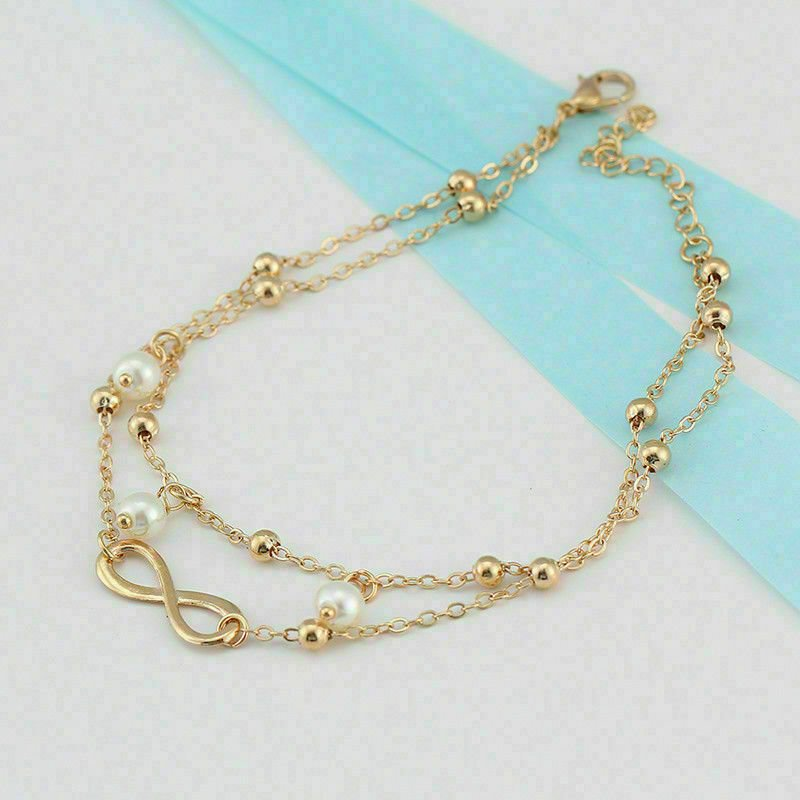 thumbnail 16 - Women Double Ankle Bracelet 925 Silver Anklet Foot Jewelry Girl's Beach Chain US