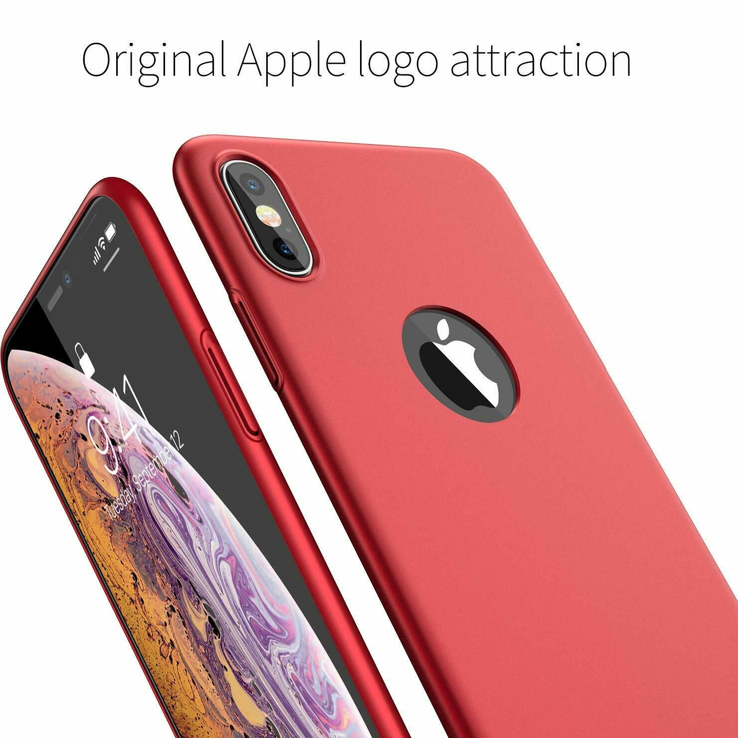 Case-Thin-Hard-Cover-Tempered-Glass-Screen-Protector-For-iPhone-X-XR-XS-Max thumbnail 23