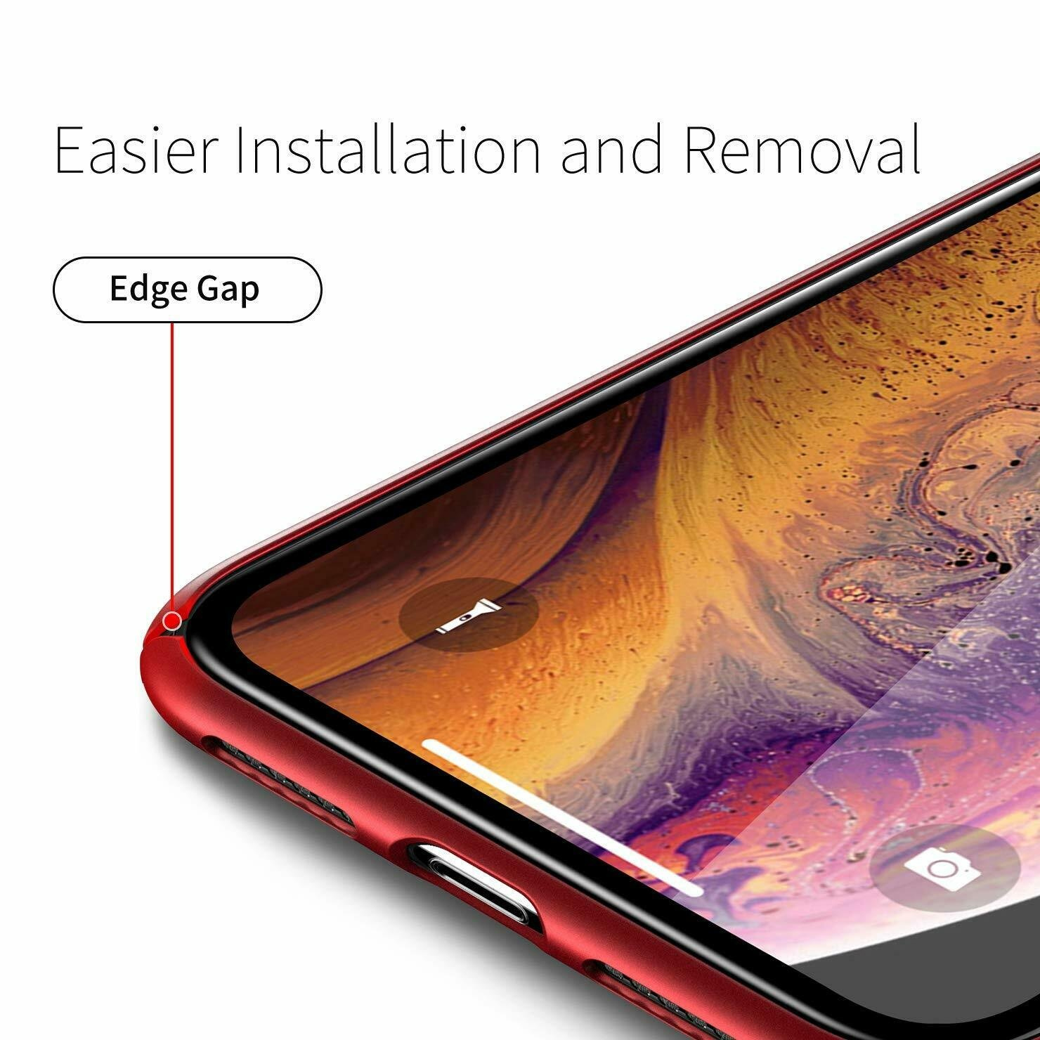 Case-Thin-Hard-Cover-Tempered-Glass-Screen-Protector-For-iPhone-X-XR-XS-Max thumbnail 24