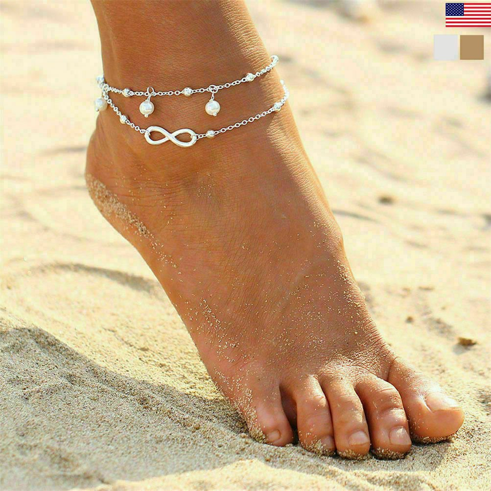 thumbnail 20 - Women Double Ankle Bracelet 925 Silver Anklet Foot Jewelry Girl's Beach Chain US