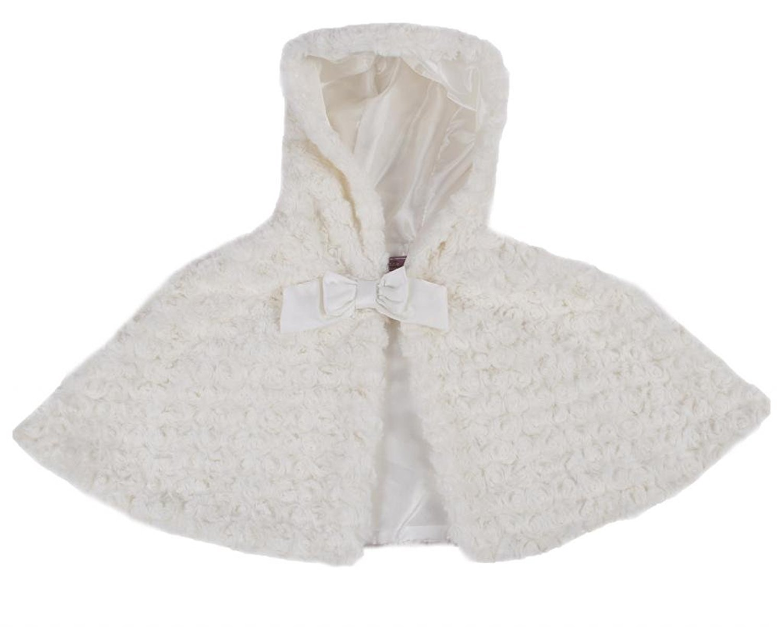 Girls Ivory Short Faux Fur Hooded Poncho jacket over dress shrug ...