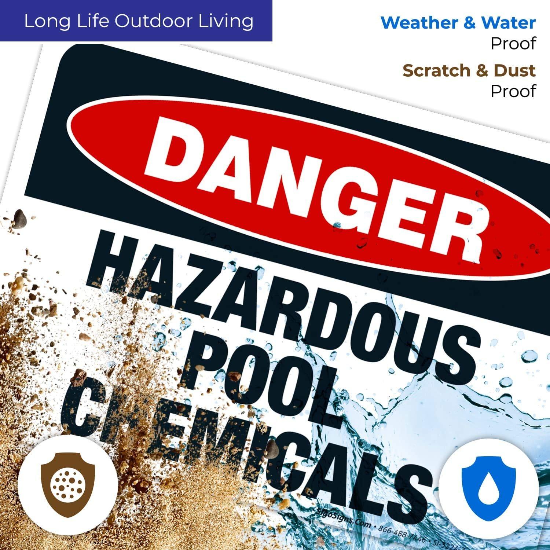 Danger Hazardous Pool Chemicals Sign, OSHA Sign, 10x7 ...
