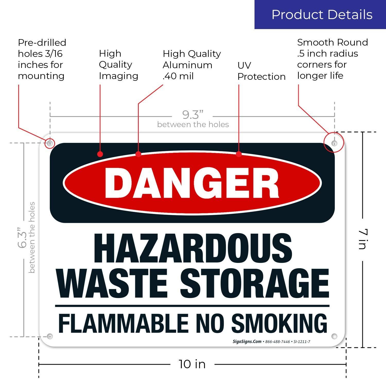 Danger Hazardous Waste Storage Flammable No Smoking Sign ...