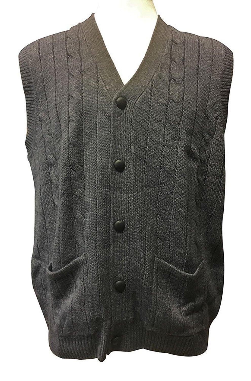 D'Avila 100% Acrylic Big and Tall Sleeveless Cable Knit Cardigan ...