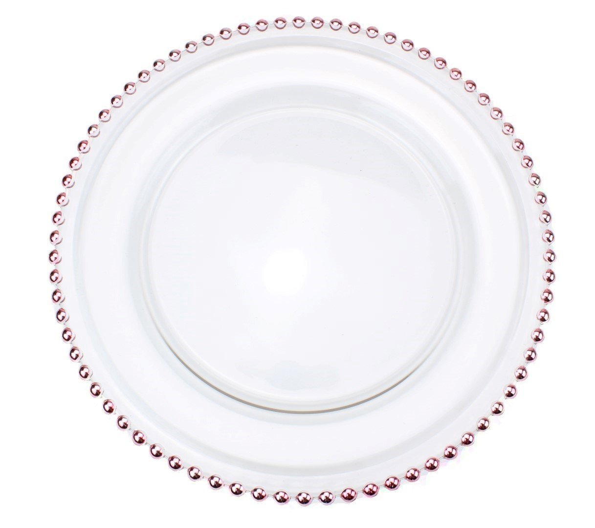 Clear-Glass-Charger-12-6-Inch-Dinner-Plate-  sc 1 st  eBay & Clear Glass Charger 12.6 Inch Dinner Plate With Beaded Rim - Set of ...