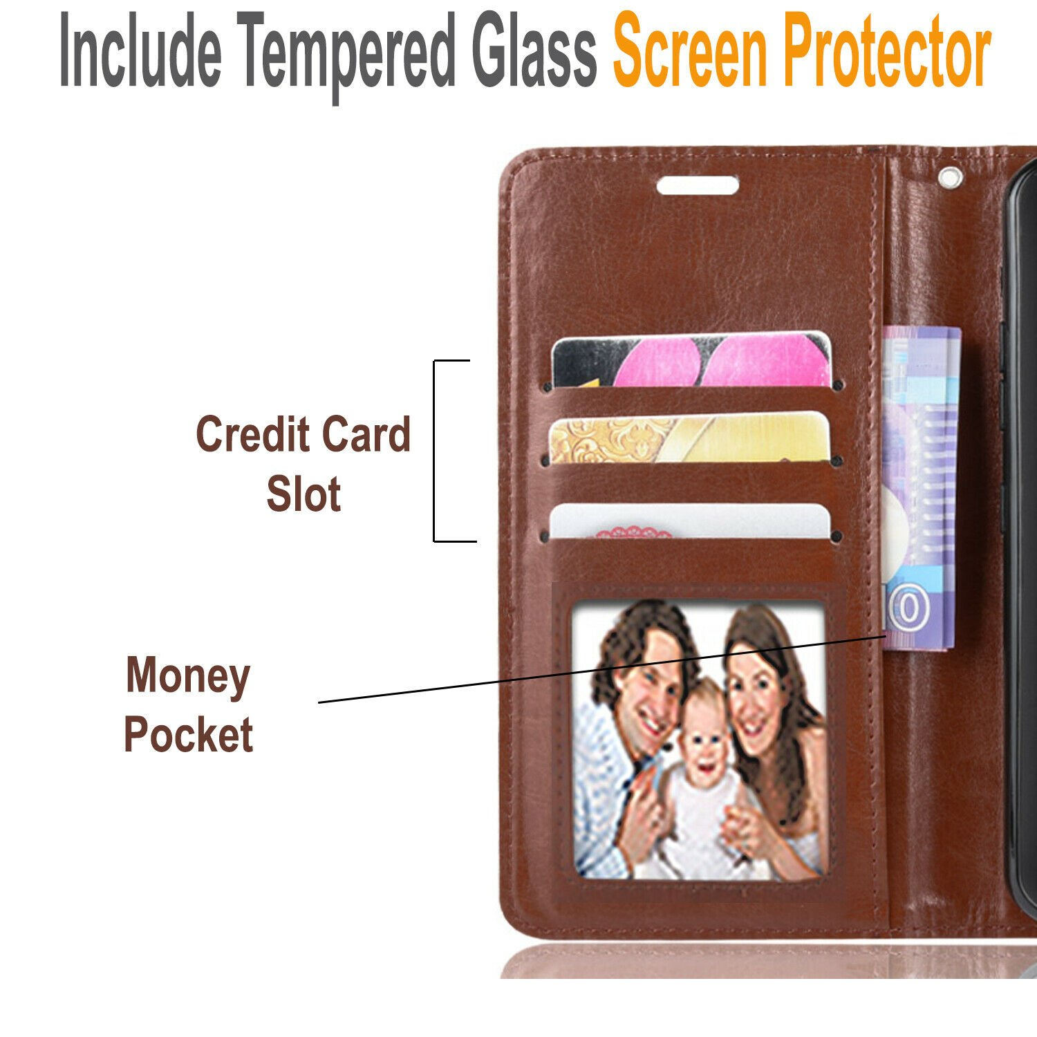 thumbnail 17 - For iPhone 7 / 8 / 7 Plus Case, Premium Wallet Cover + Tempered Glass Protector