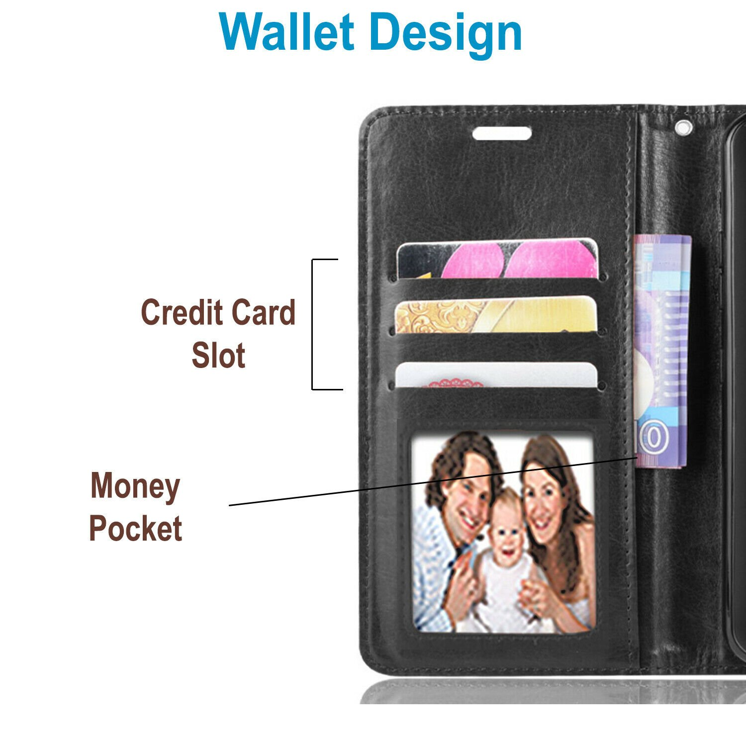 thumbnail 10 - For iPhone 7 / 8 / 7 Plus Case, Premium Wallet Cover + Tempered Glass Protector