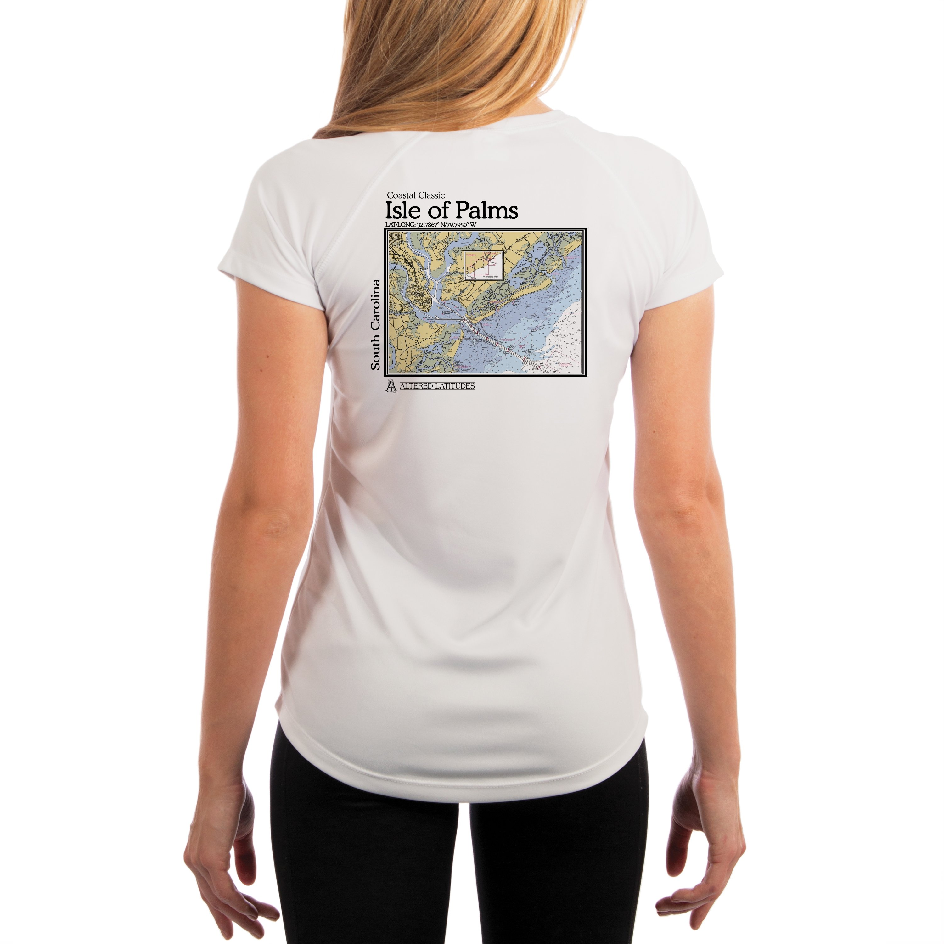 Isle-Of-Palms-Chart-Women-039-s-UPF-50-UV-Sun-Protection-Short-Sleeve-T-Shirt