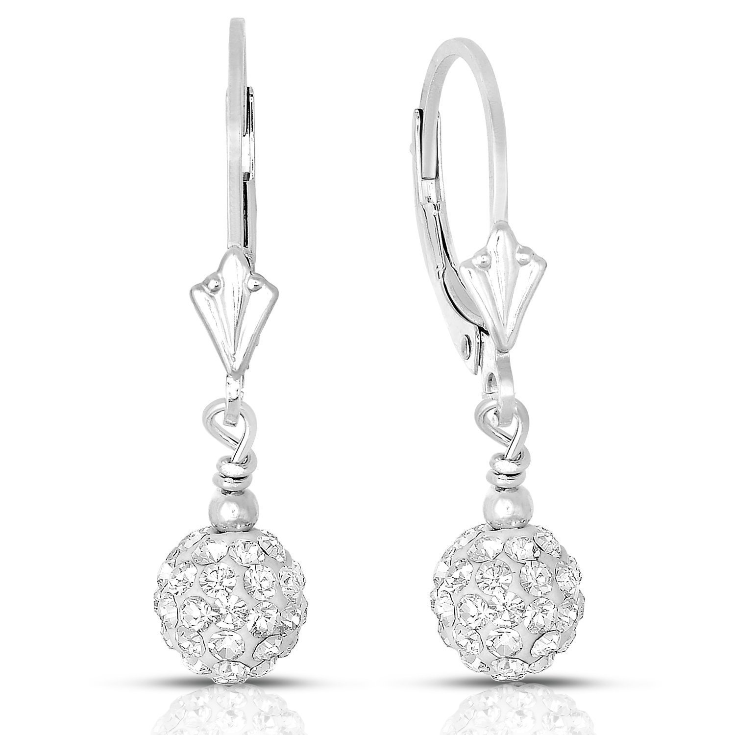 Sterling Silver Crystal Ball Dangle Leverback Drop Earrings
