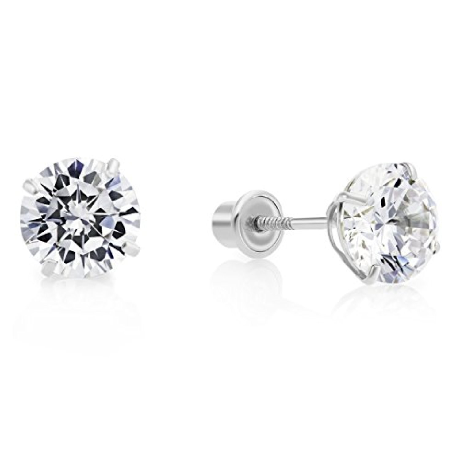 14k White Gold Cubic Zirconia CZ Solitaire Screw Back Stud ...