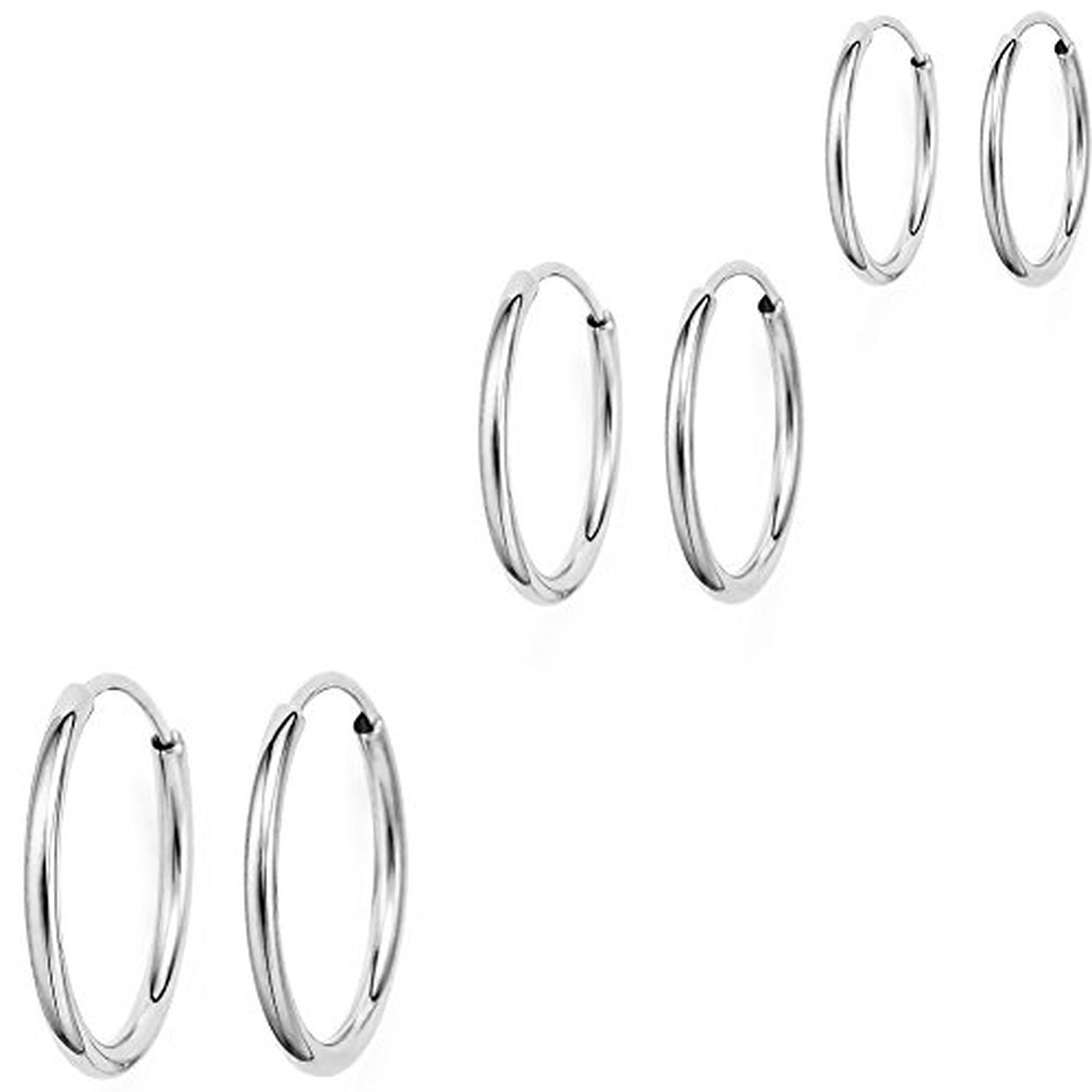 14k White Gold Endless Hoop Earrings For Ears Cartilage Nose Or