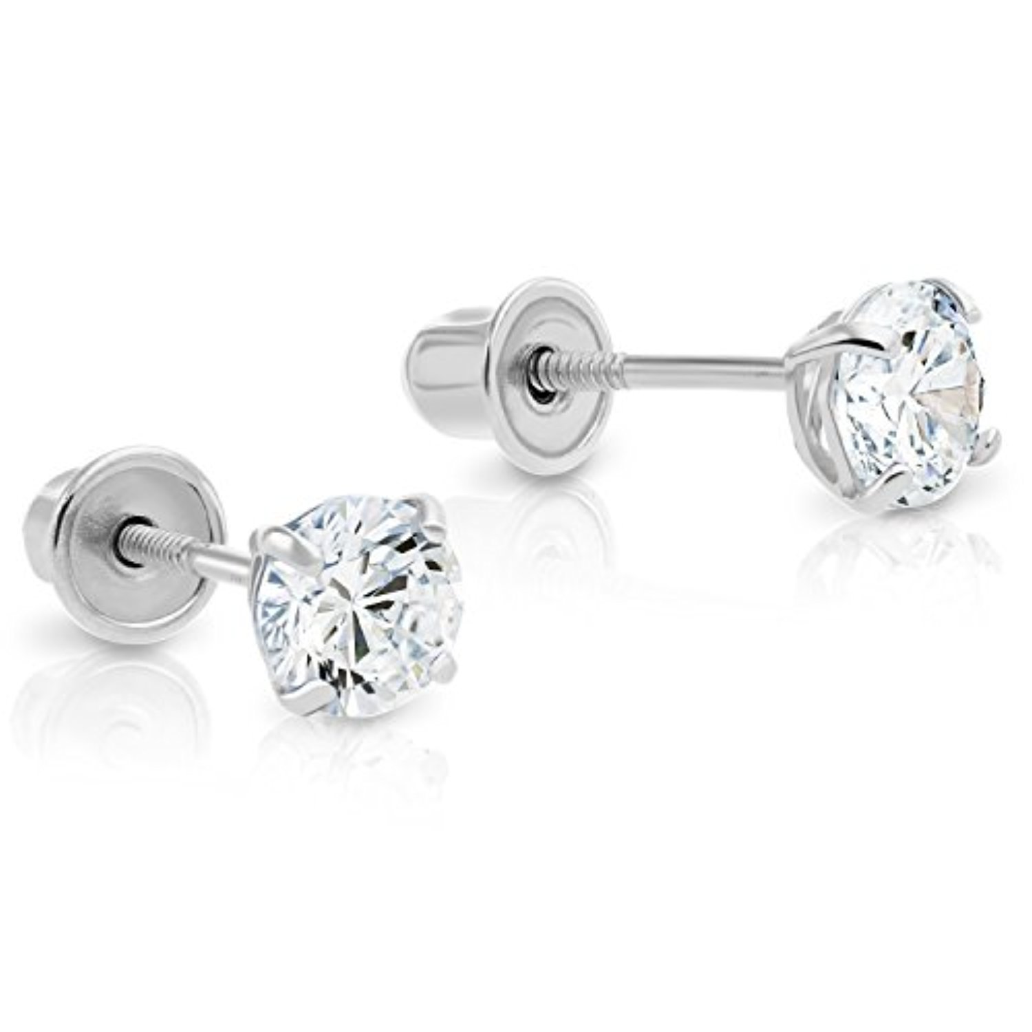 14k white gold cubic zirconia cz solitaire back stud