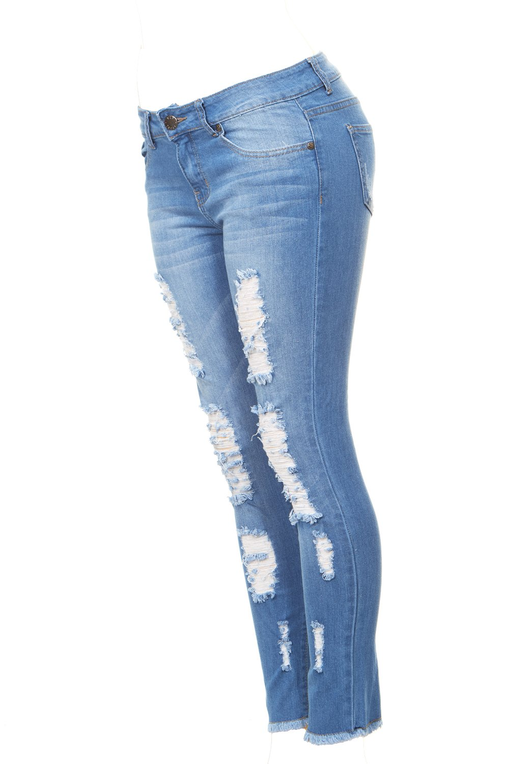 VIP Jeans Ripped Distressed Skinny jeans for women Junior Plus size 5 Colors | eBay