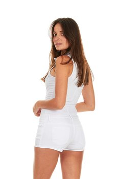 b0f67210f Cover Girl Denim Romper Jeans Shorts Zip Up Sleeveless Cute and Sexy Junior  Size SM White