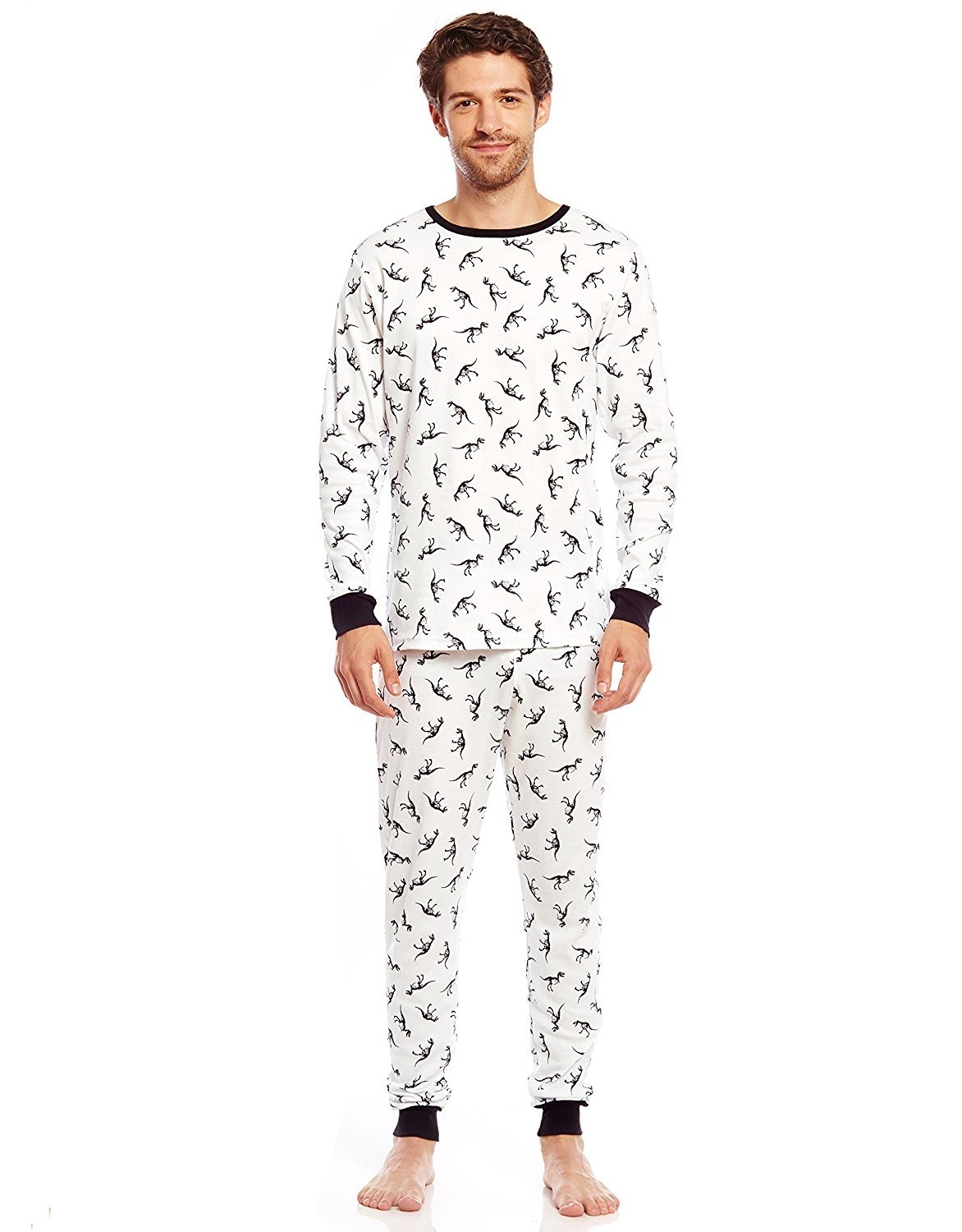 5e1cedf702 Leveret Men s White Dinosaur Fitted Pajama Set 100% Cotton (Size XS ...