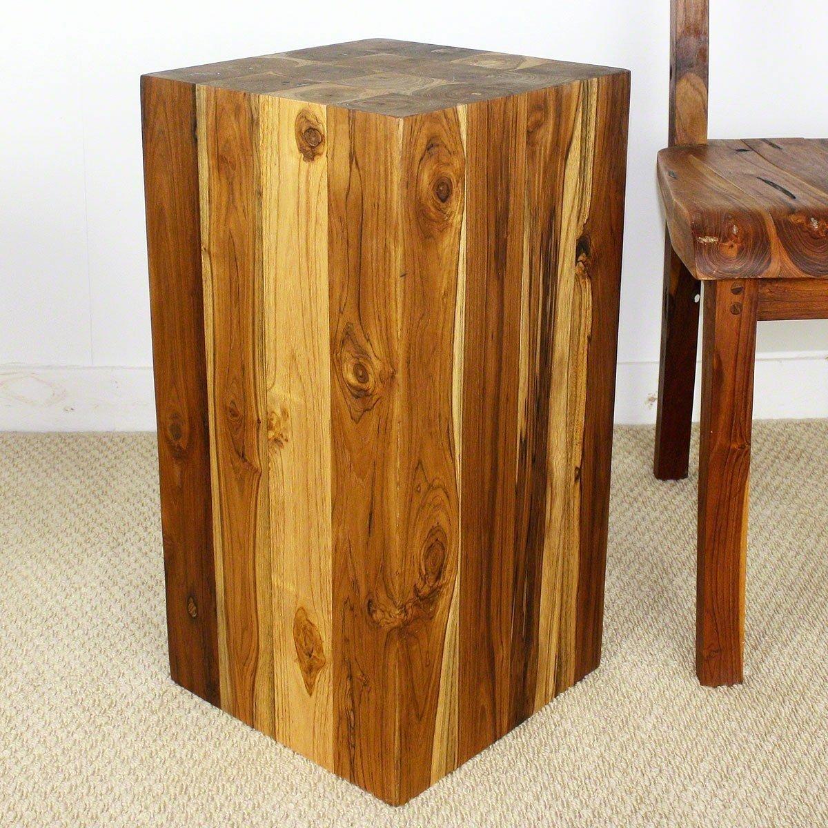 Block Hollow Teak Wood End Table 12x12x23 Inch H W Eco Friendly Livos Walnut Oil