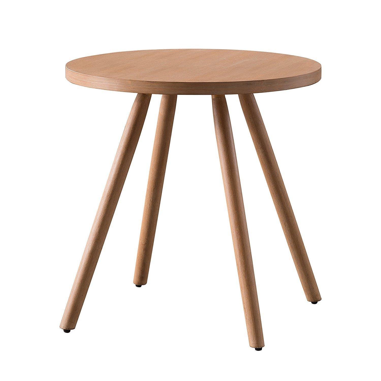 Supernova Four Legged Bamboo Round End Table Coffee
