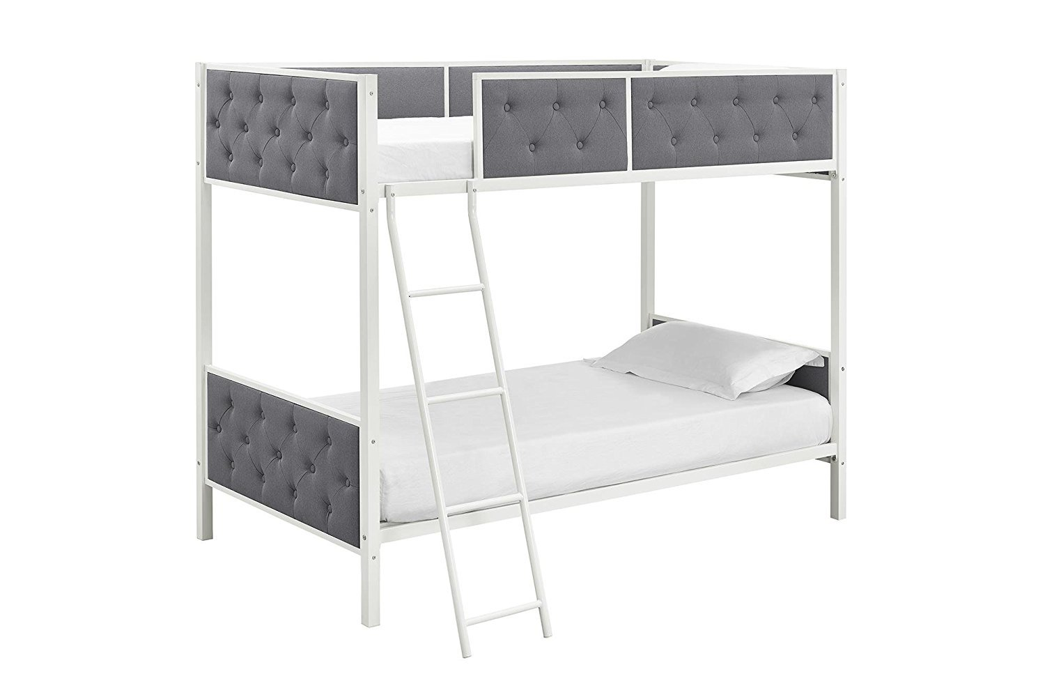 Dhp Chesterfield Upholstered Linen Bunk Bed Twin Size